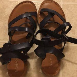 Navy Blue Leather Gladiator sandals